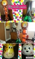 Children's birthday package, number foil on balloon base, animal tower and 2 animal super shapes. Al