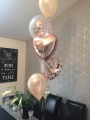 Mix of 16 inch clear rose gold confetti balloons and foill and latex, available in any colour